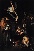 Caravaggio Nativity with St Francis and St Lawrence (1609)